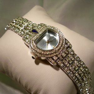 R C by Adrienne Blue face CZ Silver Watch NEW